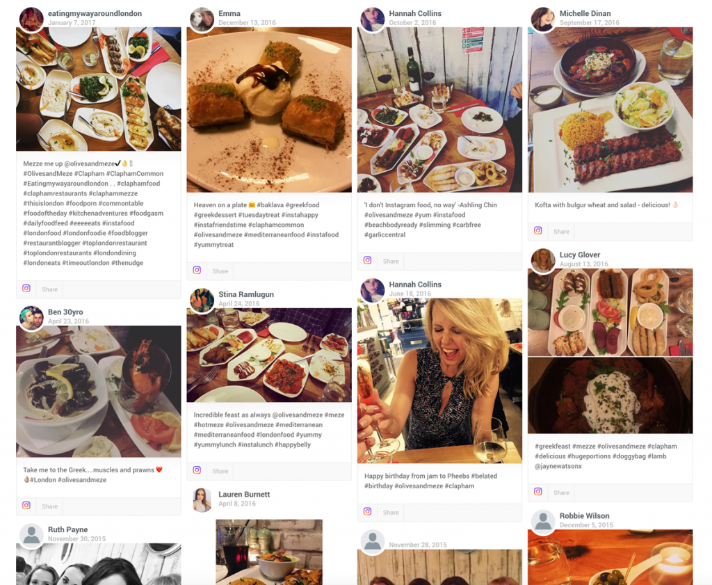 Social Media Display for Restaurants