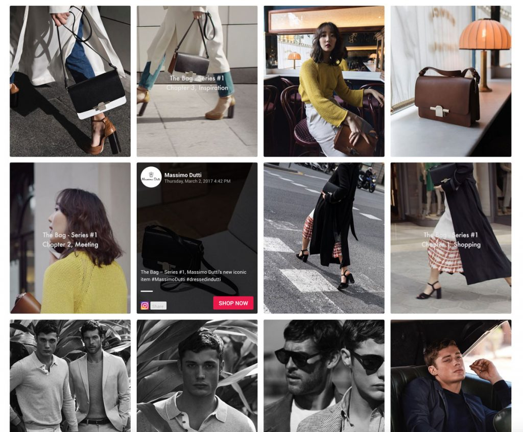 Social media display for fashion brands